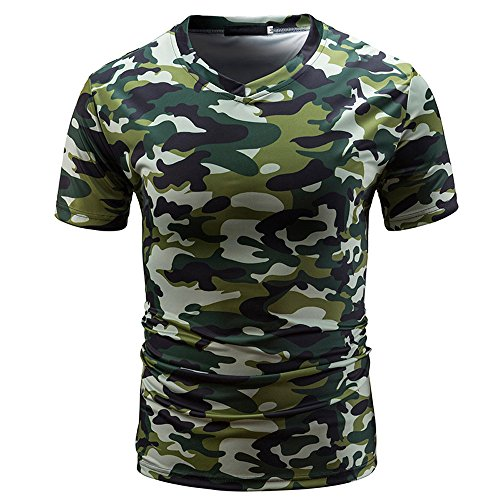 DEELIN Sommer Sport Männer Casual Camouflage Print V-Ausschnitt Pullover Kurz T-Shirt Top Bluse T-stücke Pulli Apple-print-leggings