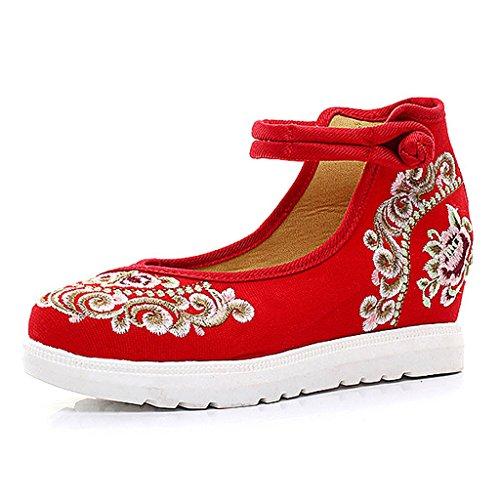 Frauen bestickte Schuhe fallen nationale Art dünne Schuhe beiläufige flache Schuhe ( Farbe : Rot , größe : US:8\UK:7\EUR:41 )