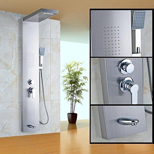 HT@ Nichel spazzolato singola maniglia bagno doccia colonna corpo spruzzatore sistema caldo e freddo doccia rubinetto Rubinetti con doccetta vasca rubinetto