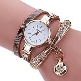 Armbanduhr Damen Ronamick Frauen Leder Strass Analog Quarz Armbanduhren Uhr Uhren Damenuhren (Braun)