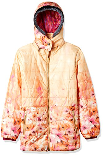Fort Collins Girls' Regular Fit Synthetic Jacket (69153_Peach_34 (13 - 14 years))
