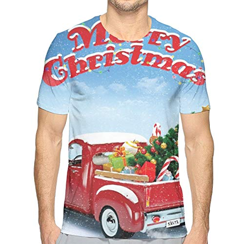 3D Printed T Shirts,Pickup Truck Filed with Ornament Cold December Weather Snowflakes Merry Christmas XL Merry Mushroom