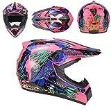 QYWSJ Set di Caschi Motocross DH, con Occhiali, Guanti, Mascherina, Frontale Pieno da Strada Downhill Dirt Bike MX ATV Casco da Moto per Uomini Adulti Donne, Stili Multipli