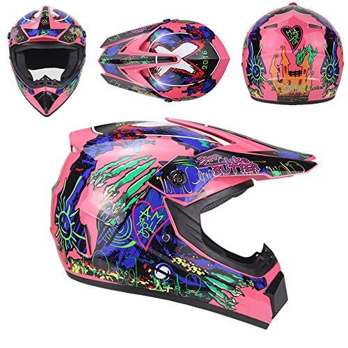 QYWSJ DH-Helm-Set FüR Motocross, Mit Brille, Handschuhe, Maske, Full Face Off Road Downhill Dirt Bike Mx ATV Motorradhelm FüR Erwachsene MäNner Frauen, Mehrere Stile -