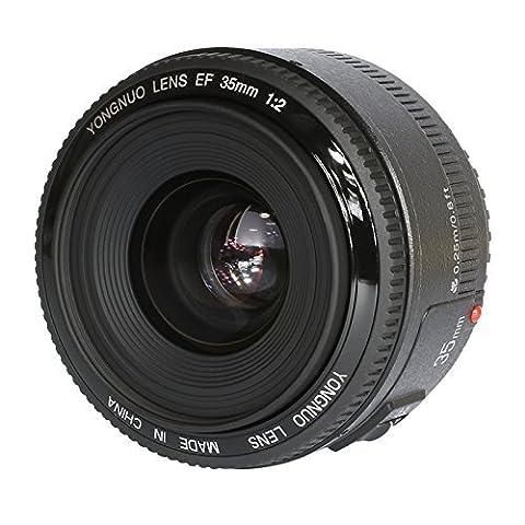YONGNUO YN35 35mm F2.0 grand angle Premier gros objectif manuel Ouverture Auto Focus AF MF pour Nikon DSLR + WINGONEER Diffuseur de