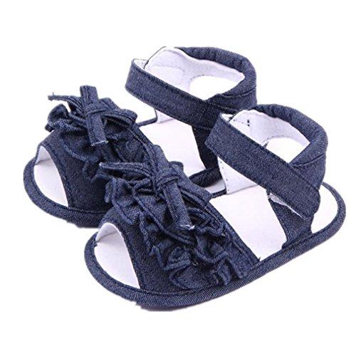 UOMOGO Scarpine neonato Pattini appena nati dei sandali del bambino della neonata del bambino della neonata dei bambini 3-18 Mesi (Età: 6~12 mesi, Blu Scuro)
