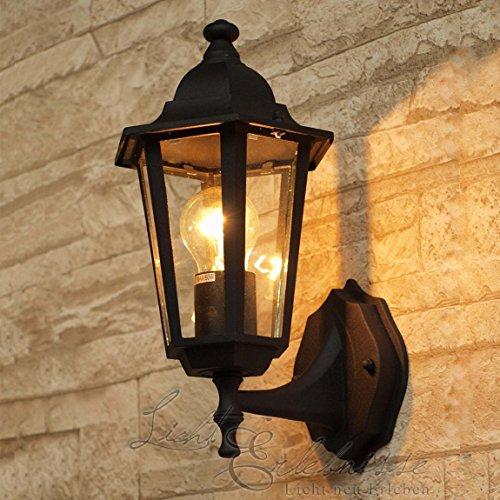 Schwarze LED Energiespar-Wand-Außenleuchte 6 Watt IP43 up aus Aluguss Außenlampe Wandleuchte Lampe Leuchte