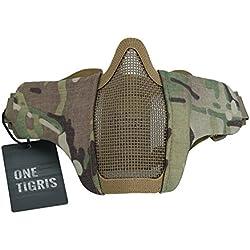 OneTigris Masque De Protection Visage Moitié en Maille d'acier avec Les Sangles Réglables pour Airsoft Paintball CS (Camouflage)