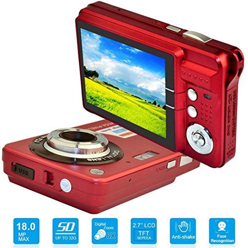 HD Mini Camara Digital con 2,7 Pulgadas TFT LCD de Pantalla, Camara de Video Digital (Rojo) - Deportes, Viajes, Camping, Outdoor, Regalo de Cumpleaños