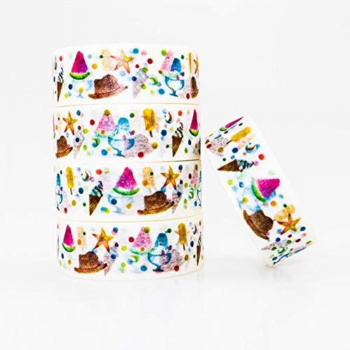 JKOU Tape Sommer Lebensmittel Muster Kreppband Farbe Klebeband Set DIY Dekoration Büromaterial Sammelalbum 1 Stücke (Halloween-lebensmittel-handwerk Kinder Für)