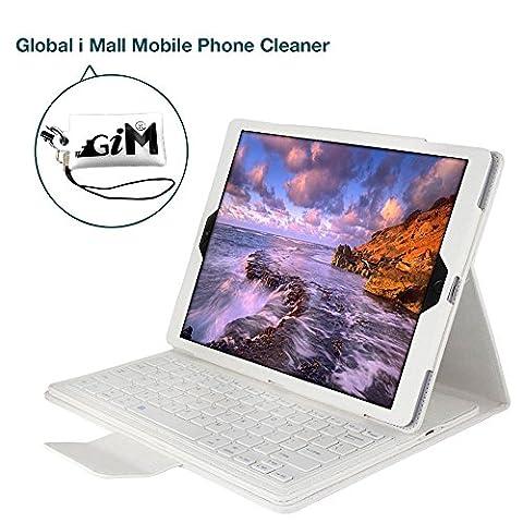 iPad Pro 12.9 Bluetooth Tastatur, G-i-Mall Weiß Ultradünn leicht Bluetooth Keyboard Case Flip Leder Schutzhülle Tasche Abnehmbar Drahtloser Bluetooth Tastatur Hülle für Apple ipad Pro 12.9 Zoll Tablet PC