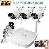 DIDSeth Kit Videosurveillance sans Fil, Enregistreur NVR 1080P 4CH Système de Surveillance et 4Pcs 1080P Caméras de Surveillance Distance de Transmission WiFi jusqu'à 600m Accès à Distance Via App