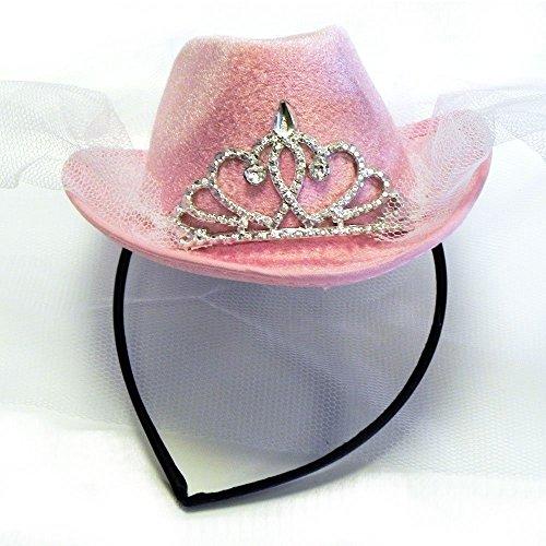 Rosa Mini Cowboy Hut mit Tiara und Brautschleier für Junggesellenabschied