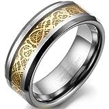 JewelryWe Schmuck 8mm Breite Wolframcarbid Herren-Ring Damen-Ring Hochzeit Band Verlobungsringe mit Gold keltischen Drachen Inlay Größe 66