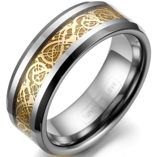 Hochzeit Bands Damen Gold (JewelryWe Schmuck 8mm Breite Wolframcarbid Herren-Ring Damen-Ring Hochzeit Band Verlobungsringe mit Gold keltischen Drachen Inlay Größe 56)