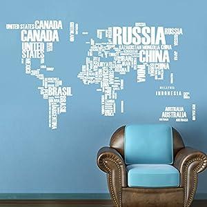 Alfabeto Inglés Mapa Del Mundo Sala Vinilo De Fondo Impermeable Se Puede Quitar 2 Piezas,White