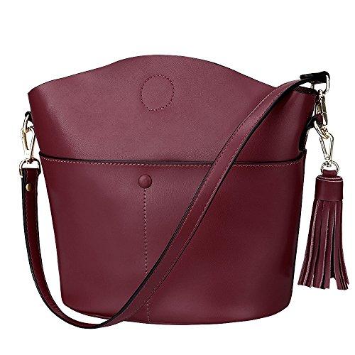S-ZONE Sacchetto di spalla del Crossbody del sacchetto della borsa della borsa della borsa della pelle bovina delle donne di (viola) Wine Red