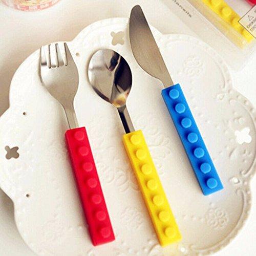 Newadel Kreative Lego Bricks Portable Silikon Edelstahl Reise Kinder Erwachsene Besteck Gabel Picknick Set Geschenk Für Kind Geschirr Blue
