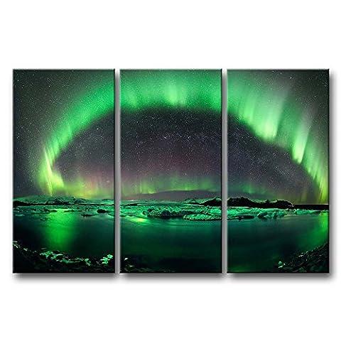 3Stück Art Wand Bild Aurora Borealis Ice schneit bei Nacht Prints auf Leinwand Die Landschaft Bilder Öl für Home Moderne Dekoration Print Decor für Kinder Raum