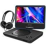 """WONNIE 9.5"""" Tragbarer DVD-Player drehbares HD Display 4 Stunden Akku, Unterstützt USB / SD Slot, AV OUT/IN, mit 1.5M Auto-Ladegerät und Stromadapter (Rote)"""