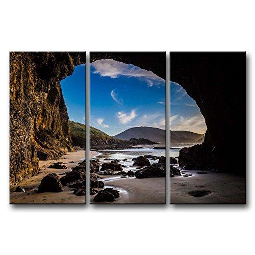 3Panel Art Wand Bild Auckland Neuseeland eine große Höhle am Strand Drucke auf Leinwand der Seascape Bilder Öl für Home Moderne Dekoration Print Decor für Mädchen Schlafzimmer