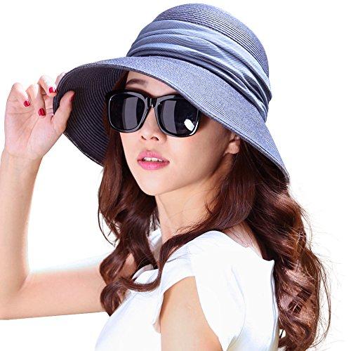 SIGGI klappbarer Sonnenhut dunkelbaluer Sommerhut Sun Shade Hut Sonnenschutz mit für Frauen mit breite Krempe -
