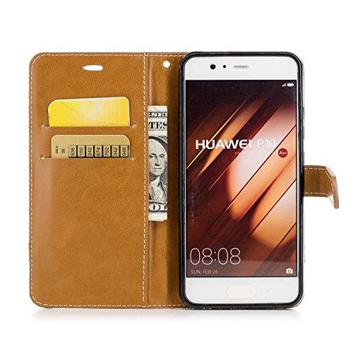 Custodia per Huawei P10, ISAKEN Flip Cover per Huawei P10 con Strap, Elegante Bookstyle Contrasto Collare PU Pelle Case Cover Protettiva Flip Portafoglio Custodia Protezione Caso con Supporto di Stand Plain marrone