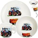 Unbekannt 3 TLG. Geschirrset _ großer Teller / Kinderteller + Schüssel + Henkeltasse -  Traktor - Trecker mit Anhänger - Bauernhof  - aus Porzellan / Keramik - Tasse ..