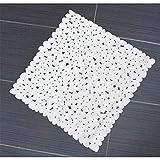 Weisse Anti Rutsch Matte für die Dusche - Duscheinlage mit Saugnäpfen - Duschmatte in schöner Kieseldekor Steinoptik - Größe: 52 x 52cm