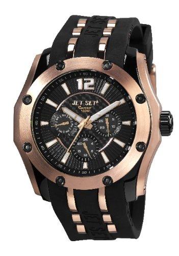 Jet Set J3283R-267 - Reloj analógico de cuarzo para hombre con correa de caucho, color negro