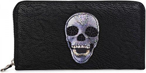 styleBREAKER monedero con aplicación de calavera y estrás, cremallera circular, cartera, señora 02040053, Color Negro