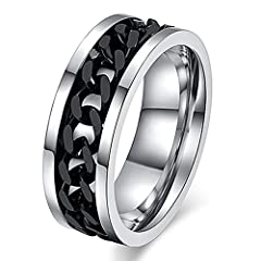 Idea Regalo - Amesii, anello punk a fascia con catena incastonata in acciaio inox unisex e Lega, 17, colore: Nero , cod. AME