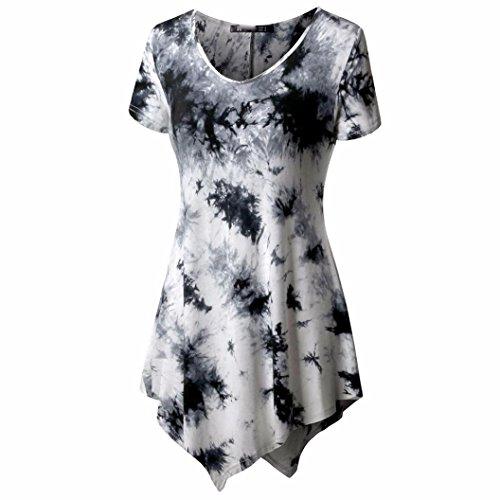 MRULIC Damen Lose Asymmetrisch Curved Rock Oberteile Bluse Rundhals Casual Loose Kleid (2XL, Weiß)