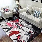 DAMENGXIANG Moderne Schwarz Rot Abstrakte Weichen Teppich Für Wohnzimmer Couchtisch Schlafzimmer Rutschfeste Bodenmatte Wohnkultur Fuß Pad 80 × 160 cm