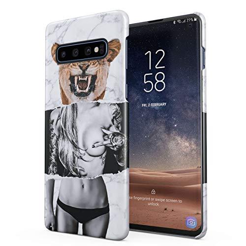 Wild Lion Inked Naked Tattoo Girl Dünne Rückschale aus Hartplastik für Samsung Galaxy S10 Plus Handy Hülle Schutzhülle Slim Fit Case Cover Handy-cover Tattoo