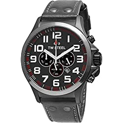TW Steel Pilot XL Men's Quartz Watch with Black Dial Chronograph Display and Black Leather Strap TW - 423