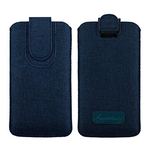Emartbuy scuro blu qualità textured tessuto custodia case cover sleeve (size 5xl) con linguetta adatta per smartphone elencati sotto