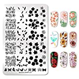 NICOLE DIARY Nail Stamping Kit 1Pc FLOWER Butterfly XL Nail Stamp Plate (14,5 cm 9,5 cm) + 2 Pz Stamping Polish + Clear Jelly Silicone Nail Stamper con cappuccio e raschietto Strumenti per manicure