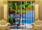 H&M Gardinen Vorhang Seaview Strand Palme ein warmer Schatten Tuch UV-Druck 3D dekoriert Schlafzimmerfenster Vorhänge fertig , wide 3.0x high 2.7