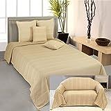 Homescapes waschbare Tagesdecke Sofaüberwurf Plaid Rajput 150 x 200 cm in Ripp-Optik Bettüberwurf aus 100% reiner Baumwolle in beige