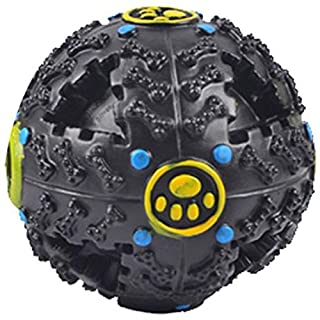 Leakage Food Ball,AmaMary88 Squeaky Giggle Quack Sound Toy Ball Training Dogs Food Dispenser Durable Chew Toys for Pet Dog (S, Black)