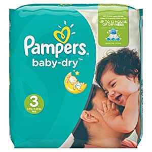 Pampers - Baby Dry - Couches Taille 3 (5-9 kg/Midi) - Pack Economique 1 Mois de Consommation (x198 couches)