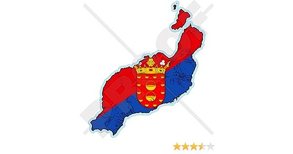Lanzarote Karte Flagge Kanarische Inseln Spanien Islas Canarias Spanisch 110mm Auto Motorrad Aufkleber Vinyl Stickers Garten
