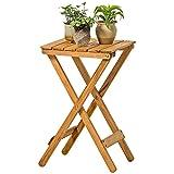 Klapptisch YNN Massivholz Blumenständer Couchtisch Wohnzimmer Balkon Im Freien Kleine Tabelle Faul Tisch (Farbe : Holzfarbe)