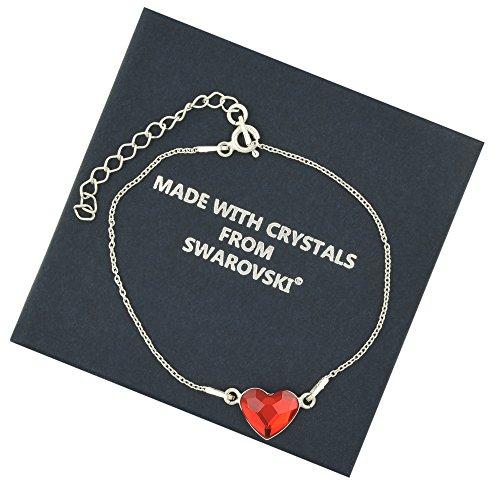 Galaxy Jewellery 925 Sterling Silber 16 + 4cm Resizable Armband mit echten Swarovski Red Heart Crystal - ideales stilvolles Geschenk für Frauen & Mädchen in einem Geschenkkarton