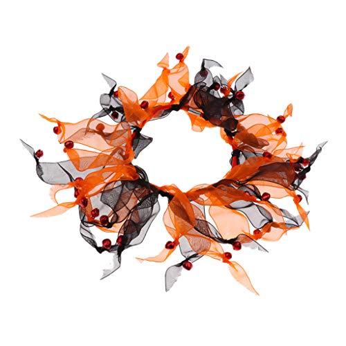 tze Hunde Halsband Kragen Gaze Halsschmuck mit Glöckchen - Schwarz und Orange ()