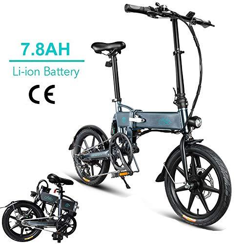 Fiido d2 bici elettrica pieghevole in alluminio da 16 pollici per bici elettrica per adulti con batteria al litio integrata da 36 v 7,8 ah, motore brushless da 250 w (d2-grigio scuro)