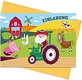 """8er Set (inkl. Umschläge): Einladungskarten """"Bauernhof"""" für den Kindergeburtstag oder anderen Anlass – hochwertige Geburtstagseinladungen für Kinder, Mädchen, Jungen"""