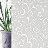 Rabbitgoo® Classical Pattern Non-Adhesive No-Glue Static Illuminative Decorative Privacy Frosted Glass Window Film Sticker Anti-UV 90CM x 200CM for Home Bathroom Kitchen Office