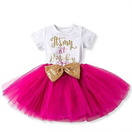 Baby Mädchen Ist es Mein 1. / 2. Geburtstags Kleid Sequin Tütü Prinzessin Glitzernde Bowknot Partykleid Neugeborene Säuglings Kleinkind Fotoshooting Outfits Kostüm Heißes Rosa (Hübsches Mädchen Outfits)